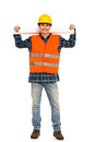 Relaxed construction worker young holds paper roll on his shoulders full length studio shot isolated on white Stock Photos