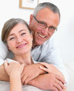 Relaxed Cosy romantic couple hugging at home Royalty Free Stock Photos