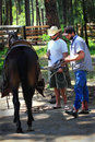 Relaxed cowboys saddles a horse two men standing saddling dark with corrals in background forest area shallow depth of field Royalty Free Stock Photo