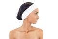 Relaxed gorgeous model wearing headband posing on white background Royalty Free Stock Image