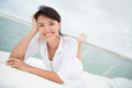 Relaxed woman sailing Royalty Free Stock Photo