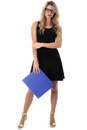 Relaxed Young Business Woman Holding a Blue Office Box File Royalty Free Stock Photo