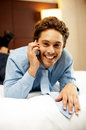 Relaxed young businessman communicating Royalty Free Stock Photo