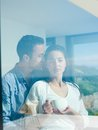 Relaxed young couple at home romantic happy relax modern indoors Stock Image