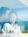 Relaxed young couple at home romantic happy relax modern indoors Stock Photography