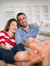 Relaxed young couple at home romantic happy relax modern indoors Stock Images