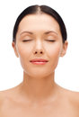Relaxed young woman with closed eyes beauty spa and health concept Stock Image