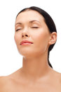 Relaxed young woman with closed eyes beauty spa and health concept Royalty Free Stock Photo