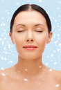 Relaxed young woman with closed eyes beauty spa and health concept Stock Photo