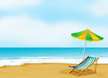 A relaxing beach with an umbrella and a foldable bed illustration of Royalty Free Stock Photography