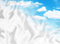 Relaxing clouds and white satin merging Stock Image
