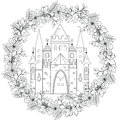 Relaxing coloring page with fairy castle in forest wreath for kids and adults, art therapy, meditation coloring book