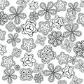 Relaxing coloring page with flowers for kids and adults, art therapy, meditation coloring book
