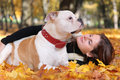 Relaxing with dog cute woman walking Royalty Free Stock Images
