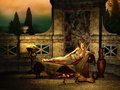 Relaxing environment d cg computer graphics of a fantasy scene with girl in ancient roman style Stock Photo