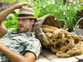 Relaxing after gardening hard work farmer relaxs Stock Photography