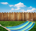 Relaxing on hammock in garden Royalty Free Stock Photo