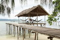Relaxing Hut on the Sea Water Royalty Free Stock Photo
