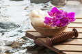 Relaxing massage after hydration for softness water nutrition and beauty symbols rejuvenation Royalty Free Stock Image