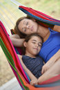 Relaxing moments in hammock mother and daughter Royalty Free Stock Photography