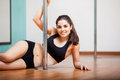 Relaxing at pole fitness class Stock Images