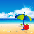 Relaxing scene on summer beach easy all editable Royalty Free Stock Image