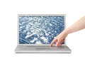 Relaxing screensaver finger pressing button on notebook with sea isolated on white Royalty Free Stock Photography