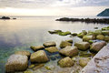 Relaxing sea scenery tranquill marine landscape at sunrise Royalty Free Stock Image