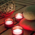 Relaxing spa atmosphere with candlelight Royalty Free Stock Photography