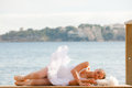 Relaxing vacation or sleep concept beautiful ballerina for relaxation Stock Images