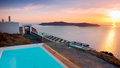 Relaxing view from a balcony spa on santorini Royalty Free Stock Photos