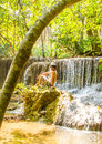 Relaxing at waterfall the man waterwall Stock Photos