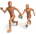 Relay race for bribe money with dollar Royalty Free Stock Photo