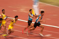 Relay in thailand open athletic championship phatumtani – september groups of men player action of x championships at thammashat Stock Images