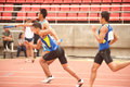 Relay in thailand open athletic championship phatumtani – september groups of player action of x championships at thammashat Stock Photography