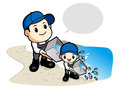 Release the young fish to the father and the son work and job c character design series Royalty Free Stock Images