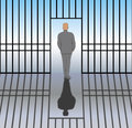 Released from prison a man gets out of and comes back to life Royalty Free Stock Photo