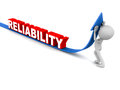 Reliability going up little d man pushing up blue arrow reliability white background Royalty Free Stock Photos