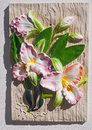 Relief floral adorned the walls Royalty Free Stock Images