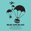 Relief supplies bag with parachutes vector illustration Royalty Free Stock Image