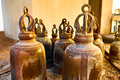 Religion, Buddhism. Closeup Prayer Bells In Buddhist Temple Of T Royalty Free Stock Photo