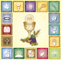 Religion card illustration of with icons Royalty Free Stock Photography