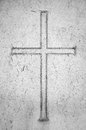 Religion conceptual image cross carved in stone Royalty Free Stock Photos