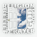 Religion faith belief door opening to follow god or spirituality word and related terms like morality prayer devotion and around a Stock Images