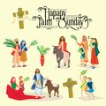 Religion holiday palm sunday before easter, celebration of the entrance of Jesus into Jerusalem, happy people with