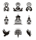 Religion icons authors illustration in vector Royalty Free Stock Images