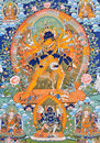 Religion painting of tibet china culture traditional artwork as named tangka with buddha and symbol Stock Photos