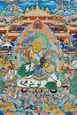 Religion painting of tibet china culture traditional artwork as named tangka with buddha and symbol Stock Image