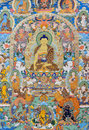 Religion painting tibet china culture traditional artwork as named tangka with buddha and symbol Stock Images