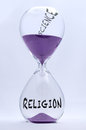 Religion and sciene hourglass concept of science Royalty Free Stock Photos